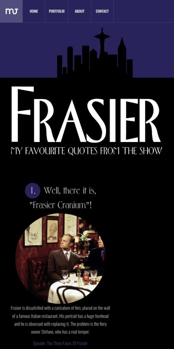 Frasier Quotes overview in Morten Jonassen's Article Section