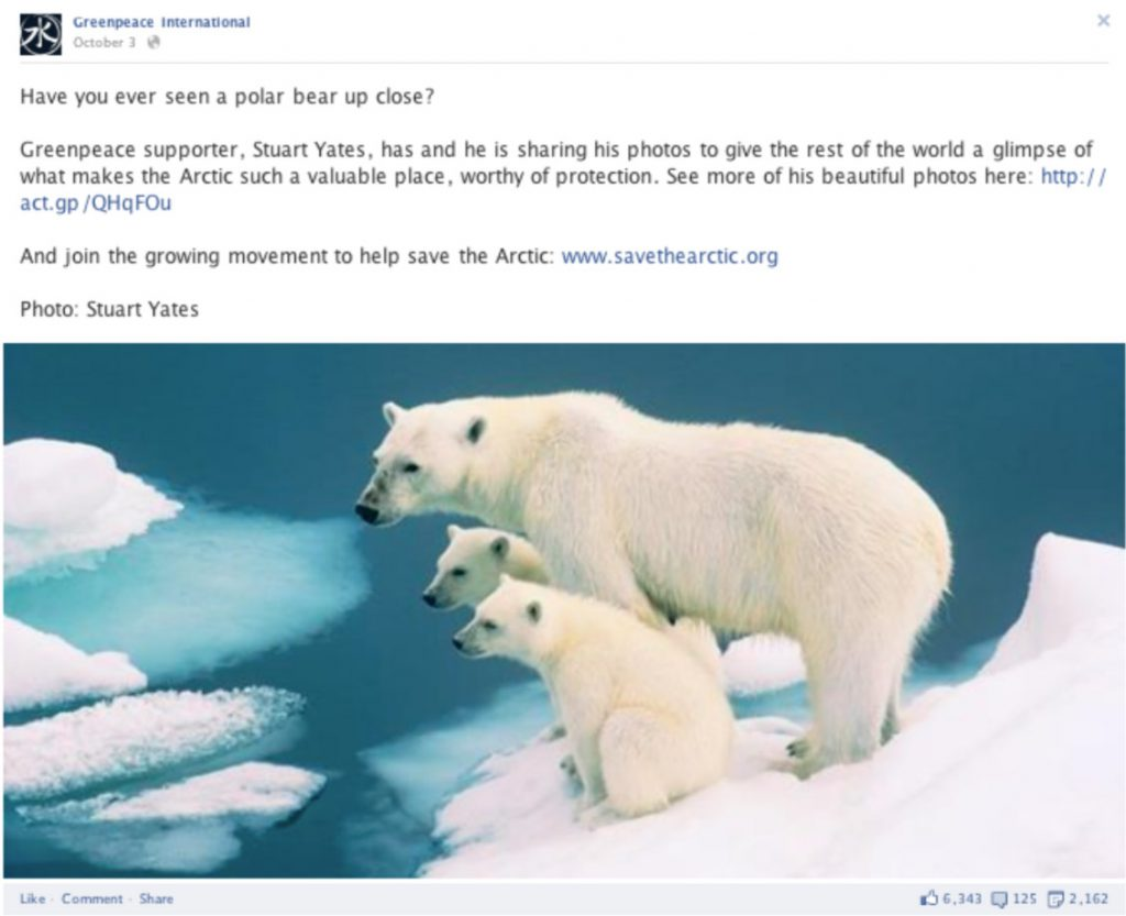 Greenpeace save the artic status update on facebook.