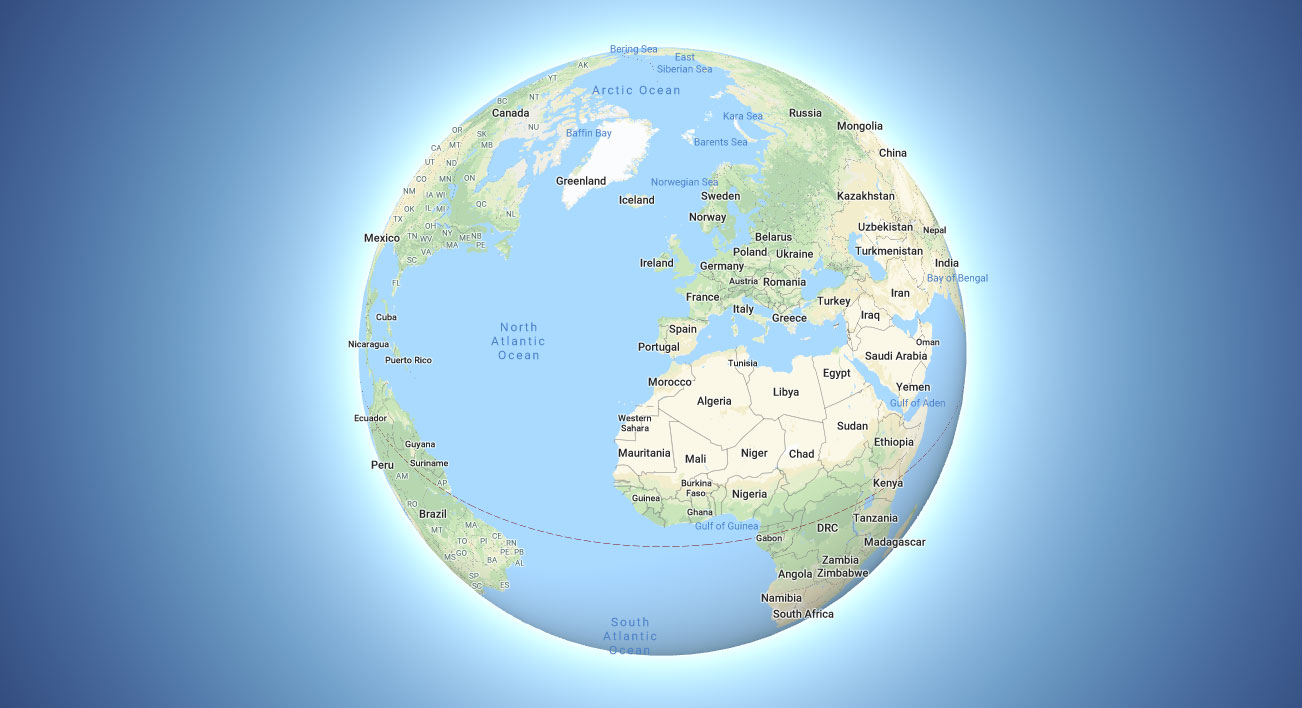 A globe map view in google maps