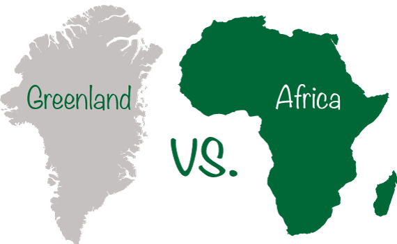 Greenland vs. Africa - Size Comparison Map